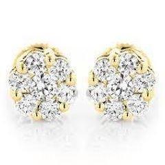 أقراط الماس العنقودية نمط مسمار 1/2 قيراط 14 ك الذهب