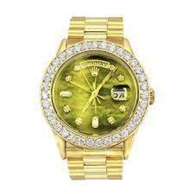ساعة رولكس أويستر بربتشوال ماسية ذهبية عيار 18 قيراطًا للرجال مينا أخضر 3.65 قيراط
