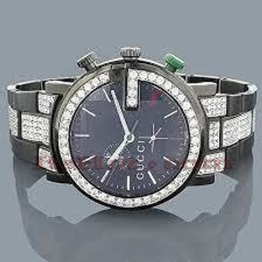 ساعات غوتشي كرونو رجالي الماس 7.50ct أسود