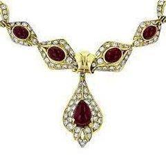 بيع المجوهرات العقارية 18 قيراط الذهب الأصفر السيدات خمر الياقوت والألماس قلادة