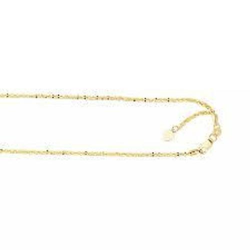 LUXURMAN Solid 10k Gold Sparkle Chain للنساء قابل للتعديل 1.5 مللي متر