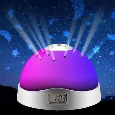 مصباح طاولة LED مع جهاز عرض وموسيقى وإنذار / ساعة وتقويم وترموستات