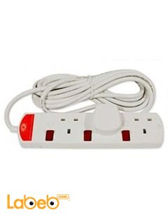 UMS Extension Cord with 3 Entries - 5 Meter - White - TS3313N Model