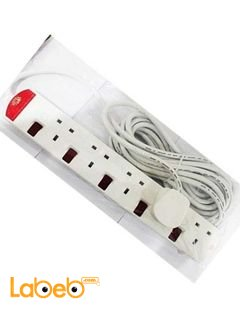 UMS Extension Cord with 5 Entries - 5 Meter - White - TS5313N Model