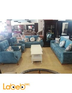 Fabric Sofa Set - 7 seats - 4 pieces - Beech wood - Blue color
