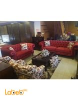 Fabric Sofa Set 4 pieces 7 seats Dark red color