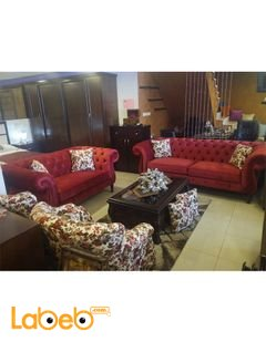 Fabric Sofa Set - 4 pieces - 7 seats - Dark red color