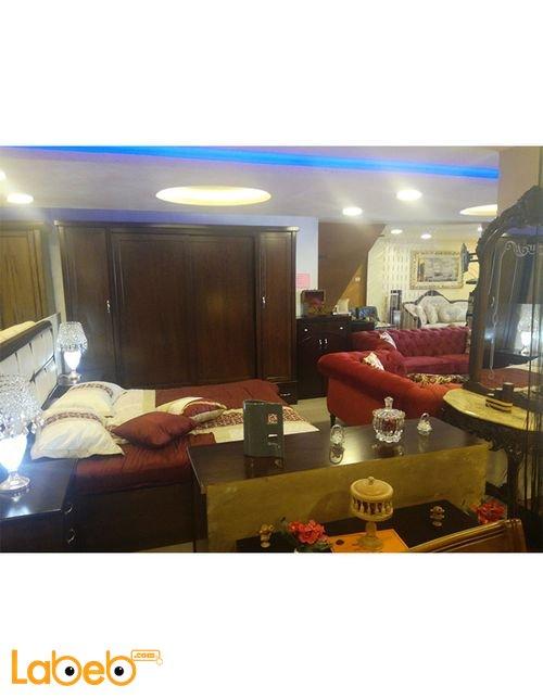 غرفة نوم مزدوجة تشمل 6 قطع خشب لاتيه وزان لون بني