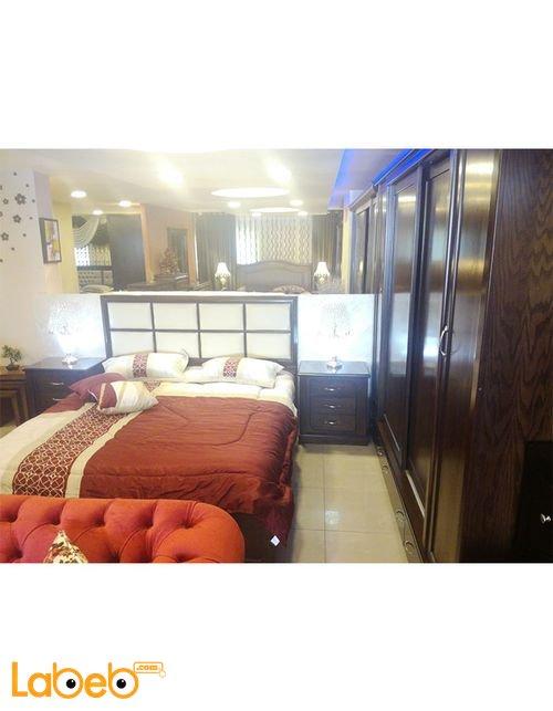 غرفة نوم مزدوجة 6 قطع خشب لاتيه وزان بني