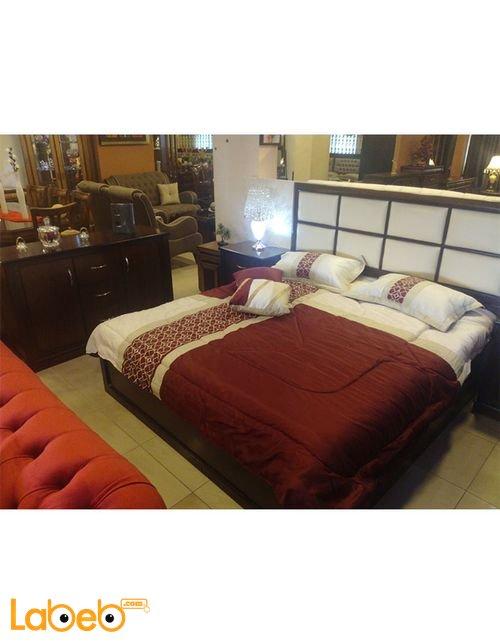 غرفة نوم مزدوجة 6 قطع خشب لاتيه وزان لون بني