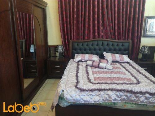 غرفة نوم مزدوجة 6 قطع خشب لاتية وزان لون بني غامق