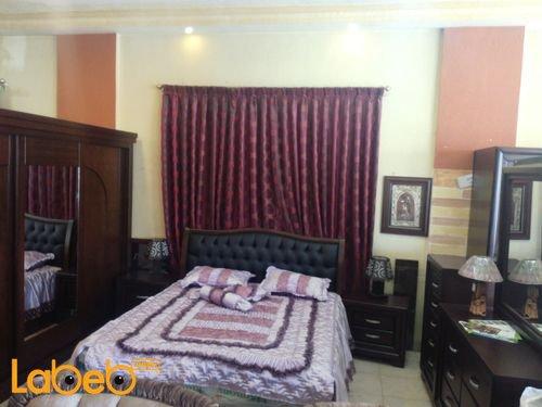غرفة نوم مزدوجة تشمل 6 قطع خشب لاتية وزان لون بني غامق