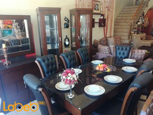 Dining table 8 seats 3 pieces Beech & Latte Wood Brown color