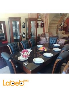 طاولة سفرة - 8 مقاعد - 3 قطع - خشب لاتية وزان - لون بني
