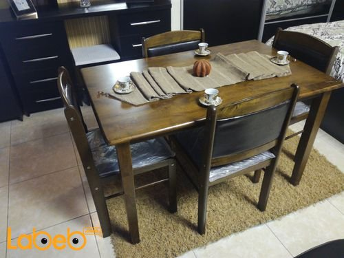 Dining table Four seats Malaysian Wood Brown color