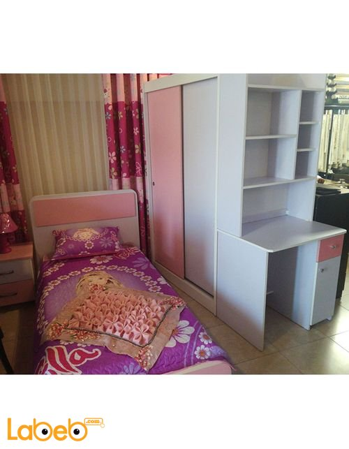 Single room For girls 4 pieces Latte Wood Pink & Purple