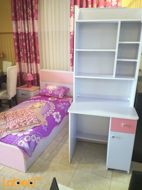 Single room suitable For girls 4 pieces Latte Wood Pink & Purple