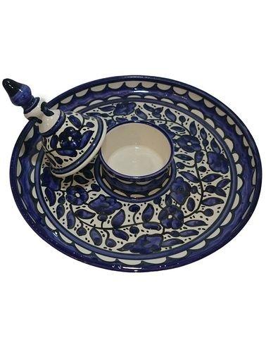 طبق القطايف من الخزف الخليلي - صحن مع غطاء لوضع القطر