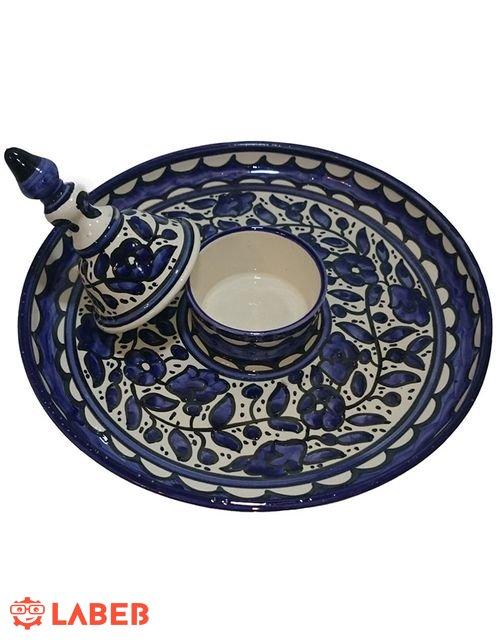طبق القطايف من الخزف الخليلي صحن مع غطاء لوضع القطر