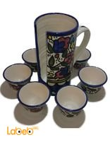 Set of black coffee cups with holder six black coffee cups