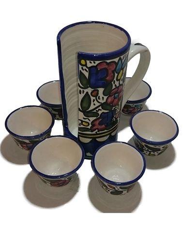 طقم فناجين قهوة سادة - مع حمّالة من الخزف الخليلي - ستة فناجين