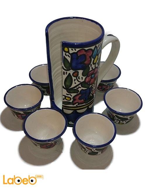 طقم فناجين قهوة سادة مع حمّالة من الخزف الخليلي ستة فناجين