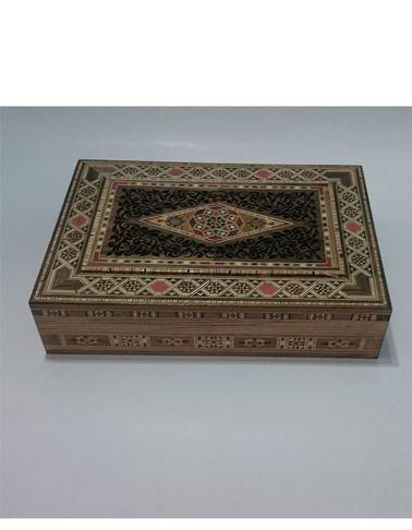 صندوق خشبي فسيفساء/موزاييك حفر شكل مستطيل لحفظ المجوهرات