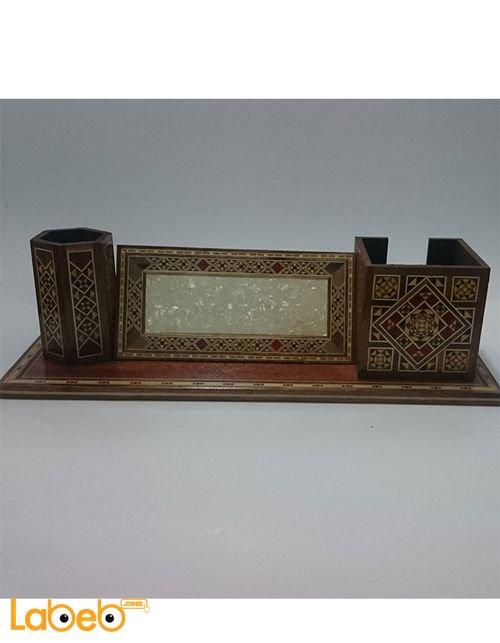 طقم مكتب خشبي مصنوع من الموزايك صناعة يدوية