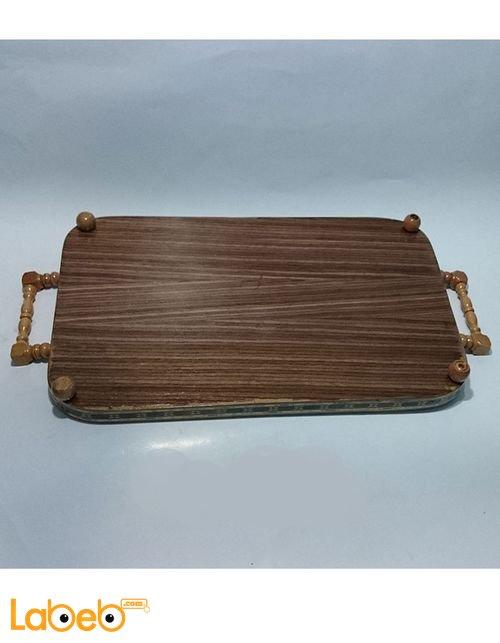 صينية تقديم خشب من الموزاييك مستطيلة الشكل مع ايدي خشب