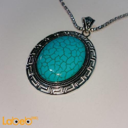 Oval pendant necklace circle shape Turquoise