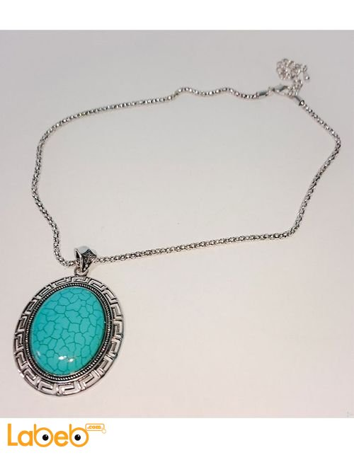 Oval pendant necklace circle shape Turquoise color