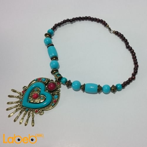 Eastern traditional necklace Heart shape Blue