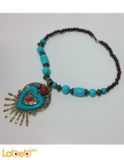 Eastern traditional necklace Heart shape Blue color