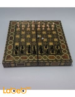 Wooden chess, backgammon set board - folding - medium size
