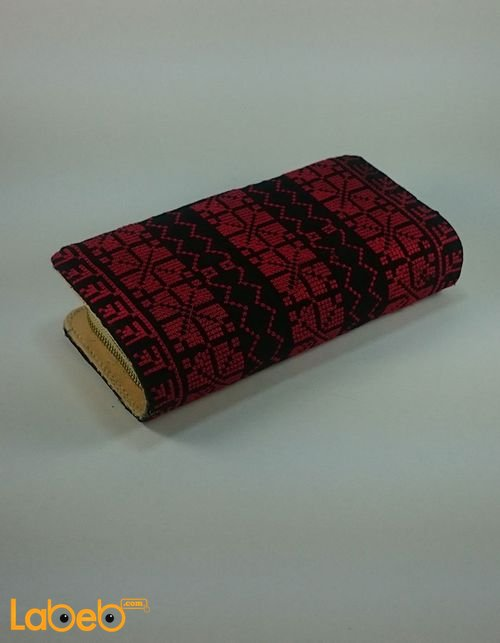 Lady Wallet (purse) embroidered design Dark Red color