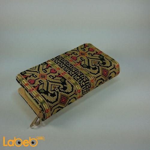 Lady Wallet (purse) embroidered design Gold