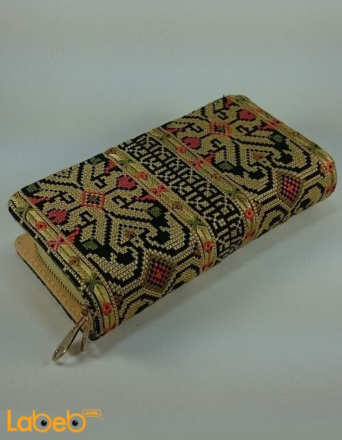 Lady Wallet (purse) embroidered design Gold color