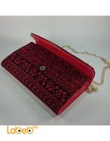 Lady Wallet embroidered design Shoulder handle Red color