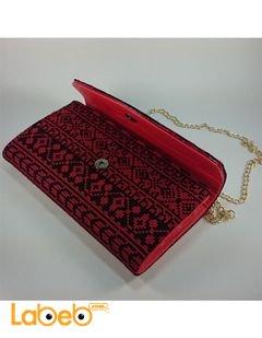 Lady Wallet - embroidered design - Shoulder handle - Red color