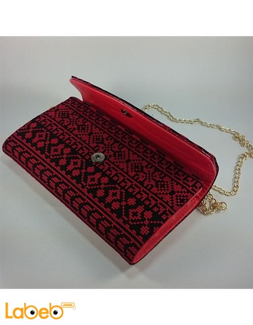 Lady Wallet embroidered design Shoulder handle Red color