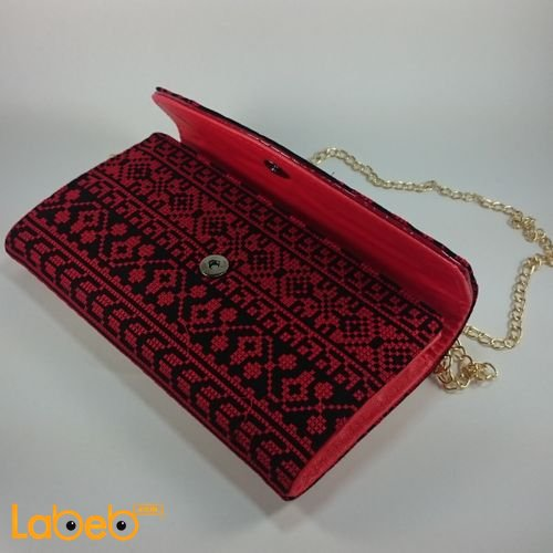 Lady Wallet embroidered design Shoulder handle Red