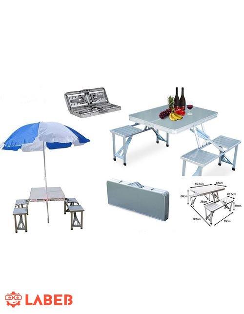 Outdoor Aluminum Portable Folding Camping Picnic Table  4 Seats