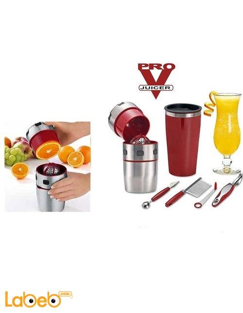 عصارة الفواكه المنزلية PRO V JUICER مع ادوات تزيين بروفي