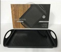 """פלטת גריל - 3 שכבות של ציפוי """"נון סטוק"""" פנימי * מוליכות חום שווה בזמן הבישול וניתן להשתמש בתנור עד 180 מעלות * קל לניקוי ועמיד במדיח כלים"""