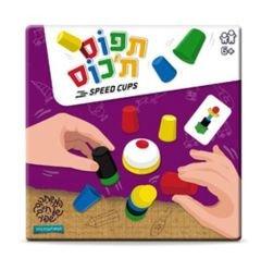 משחק תפוס ת'כוס, מכיל 20 כוסיות פלסטיק, 24 קלפי משימה ופעמון, משחק סוער ומאתגר מחשבה וקואורדינציה לכל הגילאים, מגיל 6 ומעלה.