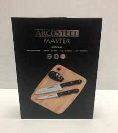 Arcosteel MASTER, סט 4 חלקים שני סכינים מקצועיים, לוח חיתוך עשוי מעץ ומשחיז סכינים דו שלבי
