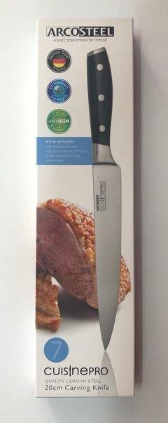 """סכין קרווינג 20 ס""""מ סכין חדה עם זווית להב המיוחדת לחיתוך ופריסת נתחי בשר דקים ועופות צלויים, ירקות ופירות."""