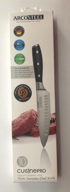 """סכין סנטוקו שף 15 ס""""מ, נועדה לקיצוץ בצל, חיתוך לקוביות ופריסה לרצועות דקות ועבות של ירקות, בשר ודג. הסכין המועדפת ע""""י השפים."""