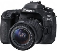 كاميرا كانون EOS 80D مع معدات عدسة - 24.2 ميجابكسل، كاميرا اس ال ار، 1
