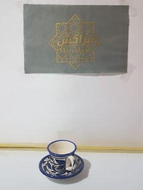 ספל קפה עם צלחת
